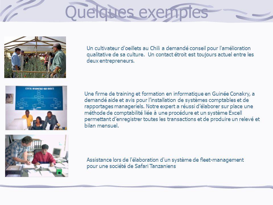Quelques exemples Un cultivateur d oeillets au Chili a demandé conseil pour l amélioration qualitative de sa culture.