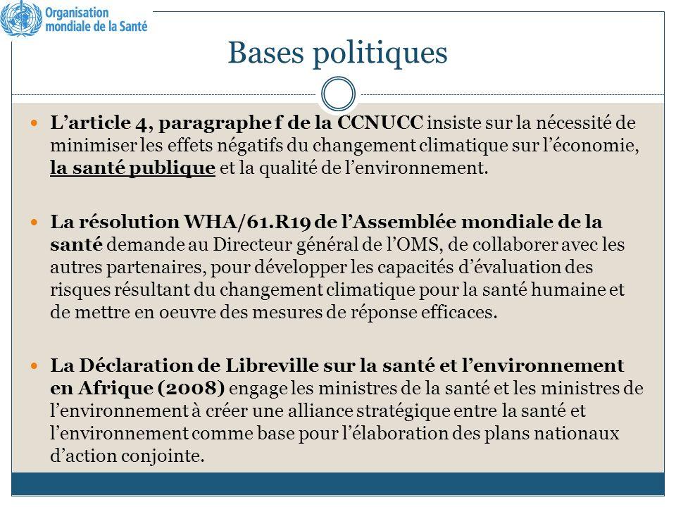 Bases politiques Larticle 4, paragraphe f de la CCNUCC insiste sur la nécessité de minimiser les effets négatifs du changement climatique sur léconomie, la santé publique et la qualité de lenvironnement.