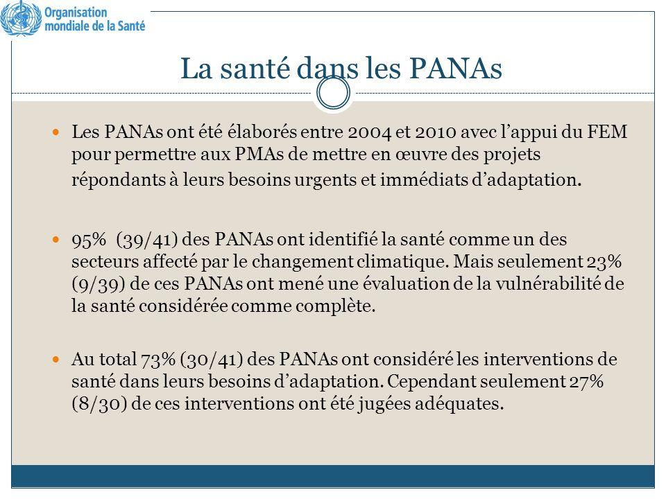 La santé dans les PANAs Les PANAs ont été élaborés entre 2004 et 2010 avec lappui du FEM pour permettre aux PMAs de mettre en œuvre des projets répondants à leurs besoins urgents et immédiats dadaptation.
