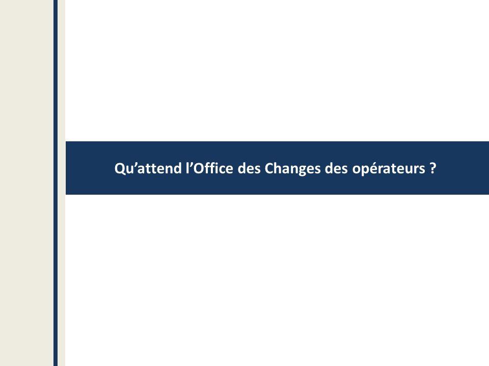 Quattend lOffice des Changes des opérateurs ?
