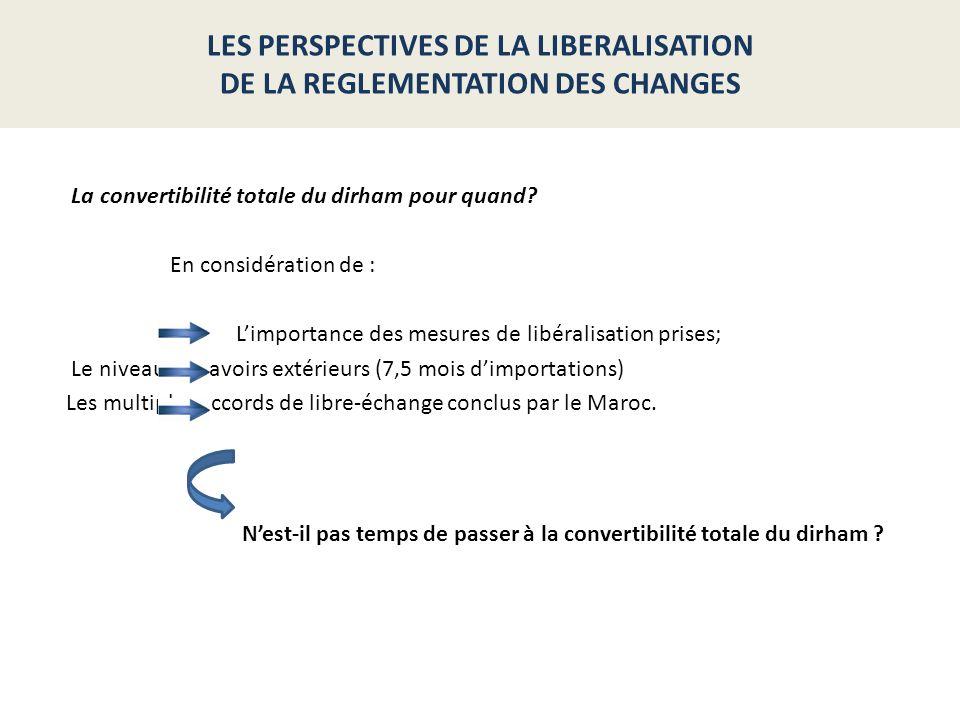 En considération de : Limportance des mesures de libéralisation prises; Le niveau des avoirs extérieurs (7,5 mois dimportations) Les multiples accords