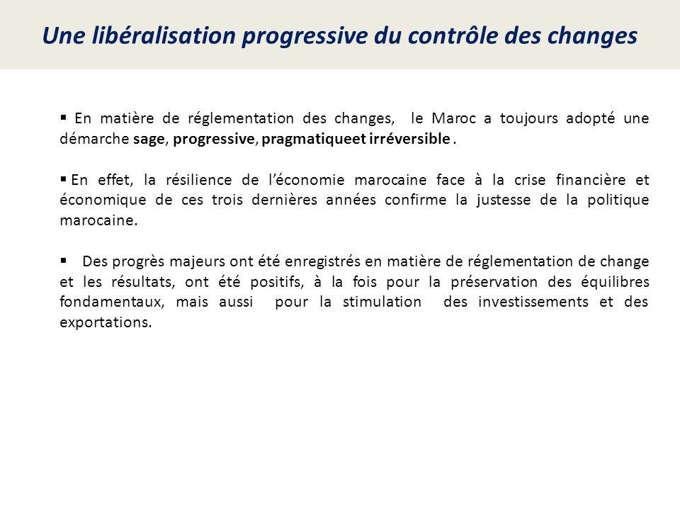 Une libéralisation progressive du contrôle des changes En matière de réglementation des changes, le Maroc a toujours adopté une démarche sage, progres