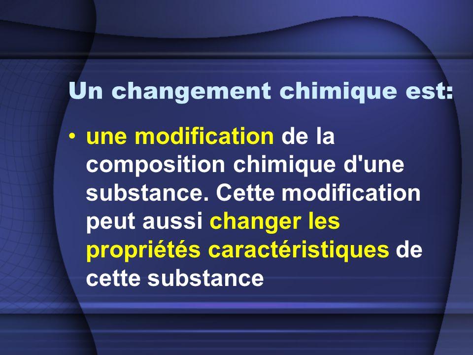 Un changement chimique est: une modification de la composition chimique d une substance.