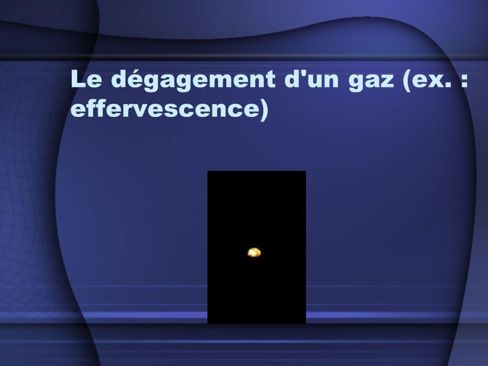 Le dégagement d un gaz (ex. : effervescence)