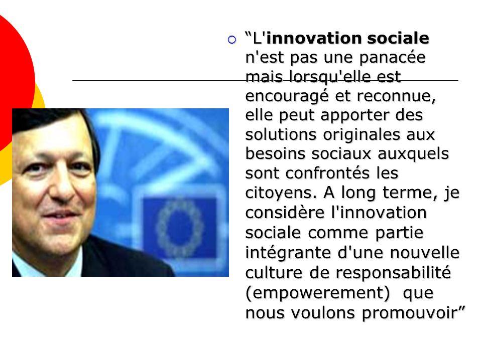 L innovation sociale n est pas une panacée mais lorsqu elle est encouragé et reconnue, elle peut apporter des solutions originales aux besoins sociaux auxquels sont confrontés les citoyens.