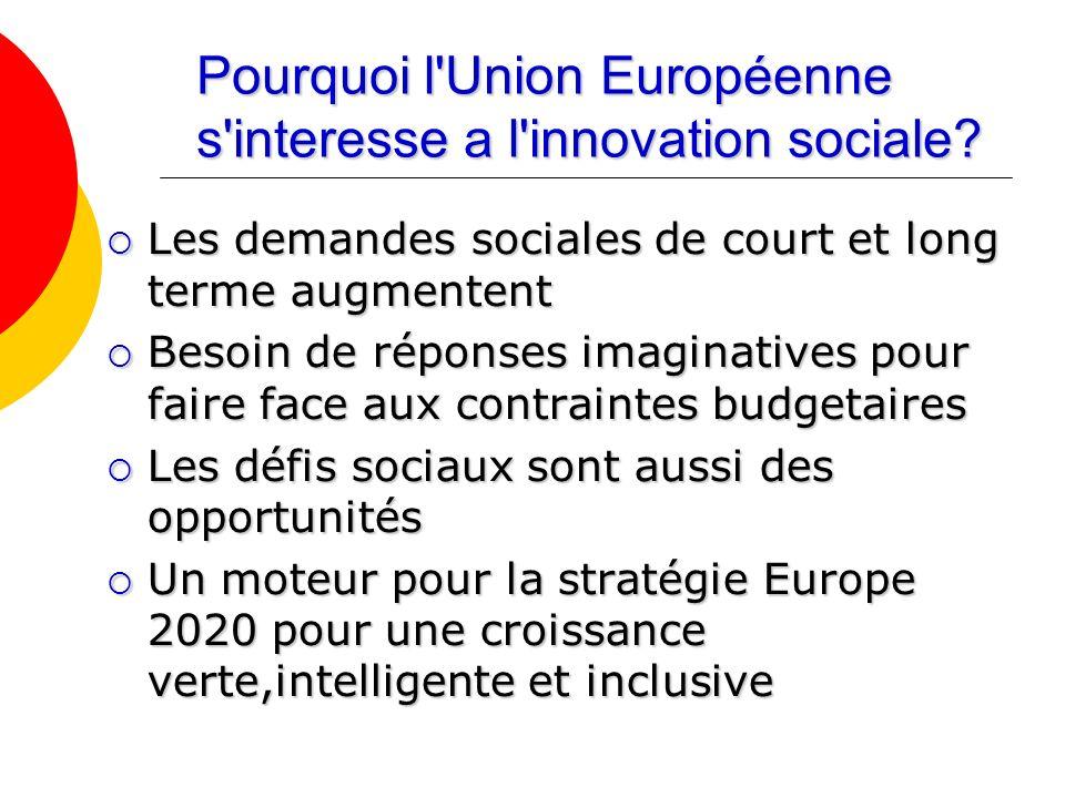 Pourquoi l'Union Européenne s'interesse a l'innovation sociale? Les demandes sociales de court et long terme augmentent Les demandes sociales de court