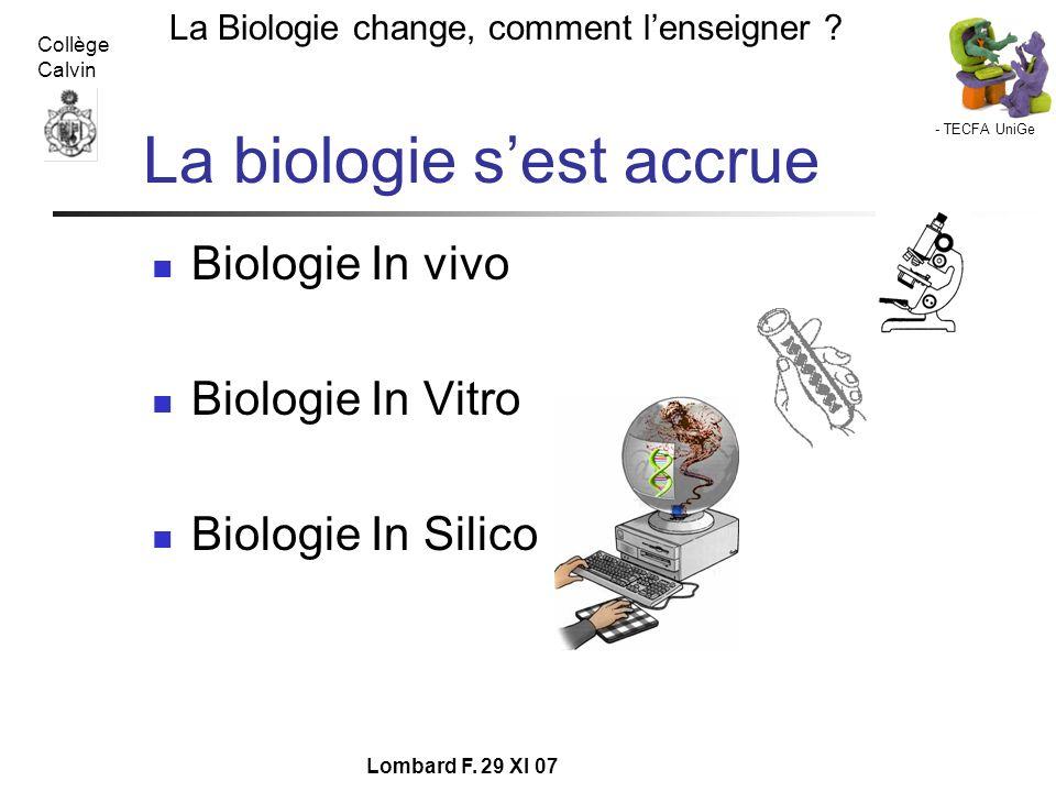 - TECFA UniGe La Biologie change, comment lenseigner ? Collège Calvin Lombard F. 29 XI 07 La biologie sest accrue Biologie In vivo Biologie In Vitro B