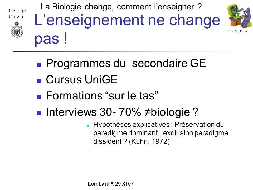 - TECFA UniGe La Biologie change, comment lenseigner ? Collège Calvin Lombard F. 29 XI 07 Lenseignement ne change pas ! Programmes du secondaire GE Cu