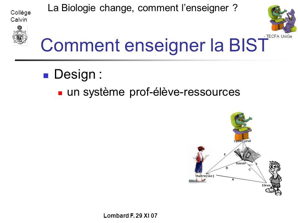 - TECFA UniGe La Biologie change, comment lenseigner ? Collège Calvin Lombard F. 29 XI 07 Comment enseigner la BIST Design : un système prof-élève-res