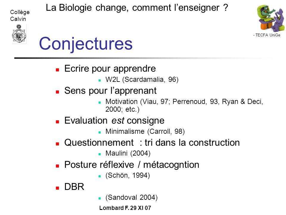 - TECFA UniGe La Biologie change, comment lenseigner ? Collège Calvin Lombard F. 29 XI 07 Conjectures Ecrire pour apprendre W2L (Scardamalia, 96) Sens