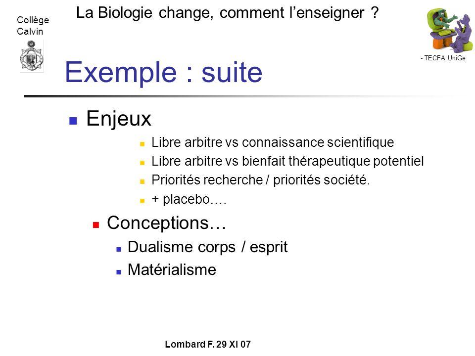 - TECFA UniGe La Biologie change, comment lenseigner ? Collège Calvin Lombard F. 29 XI 07 Exemple : suite Enjeux Libre arbitre vs connaissance scienti
