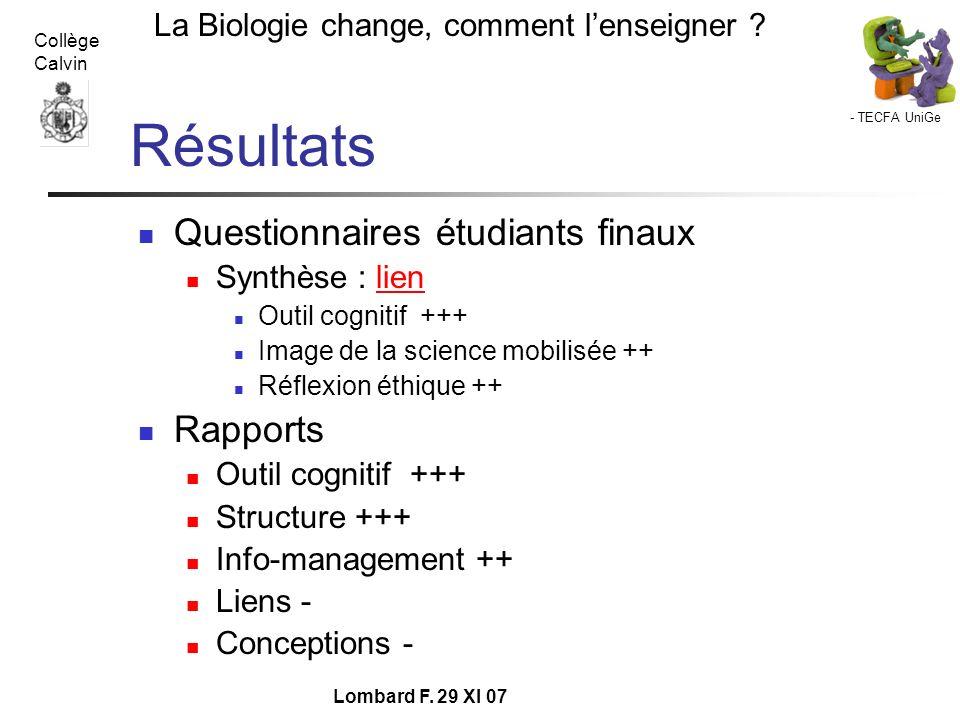 - TECFA UniGe La Biologie change, comment lenseigner ? Collège Calvin Lombard F. 29 XI 07 Résultats Questionnaires étudiants finaux Synthèse : lienlie