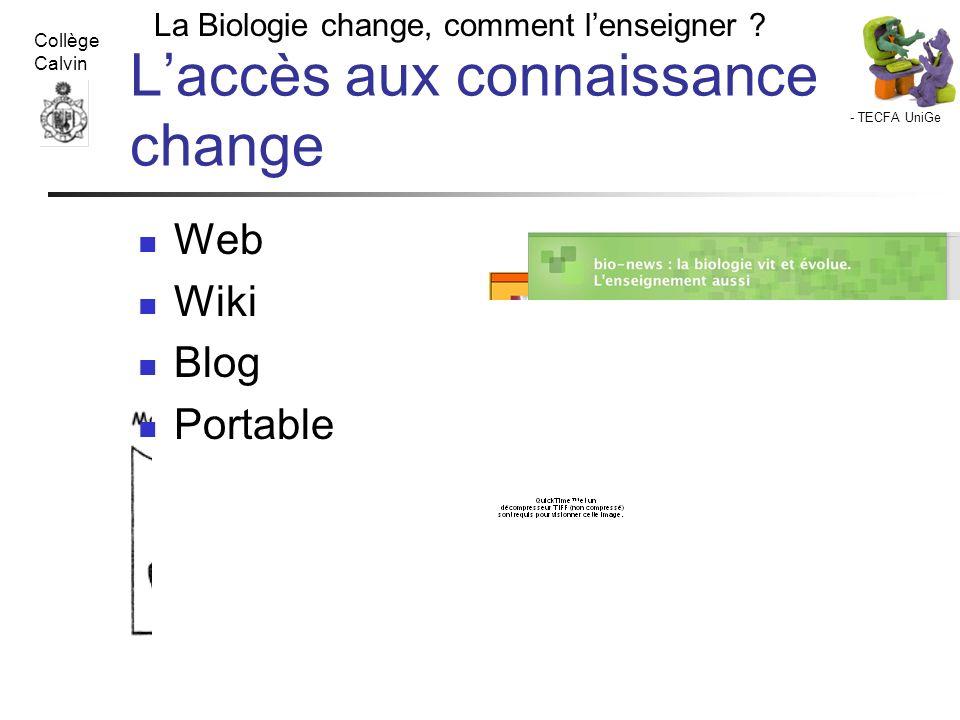 - TECFA UniGe La Biologie change, comment lenseigner ? Collège Calvin Lombard F. 29 XI 07 Laccès aux connaissance change Web Wiki Blog Portable