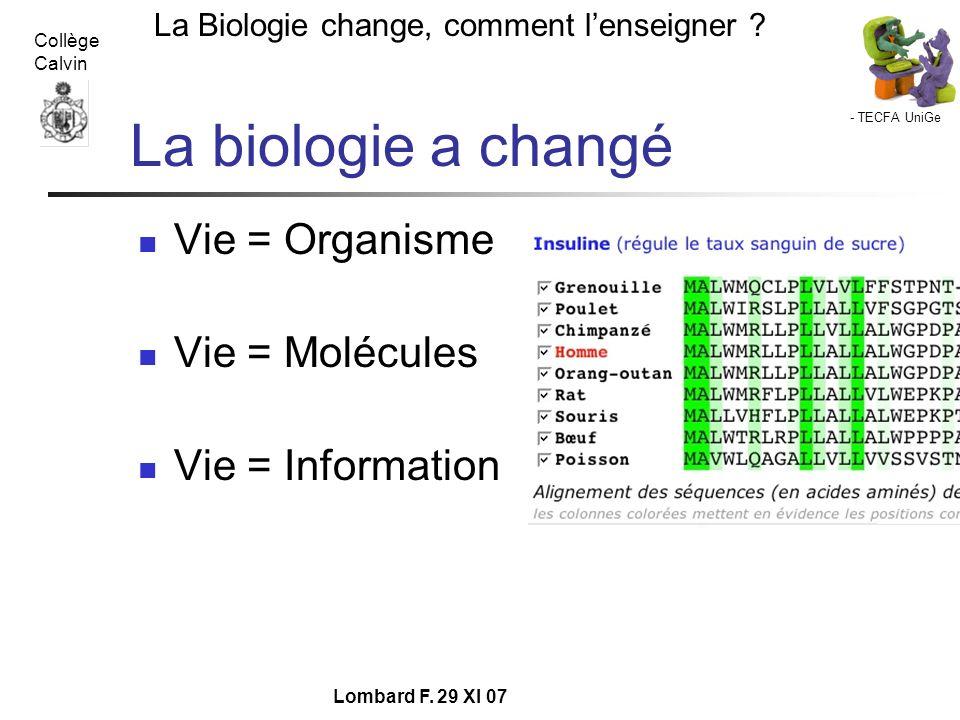 - TECFA UniGe La Biologie change, comment lenseigner ? Collège Calvin Lombard F. 29 XI 07 La biologie a changé Vie = Organisme Vie = Molécules Vie = I