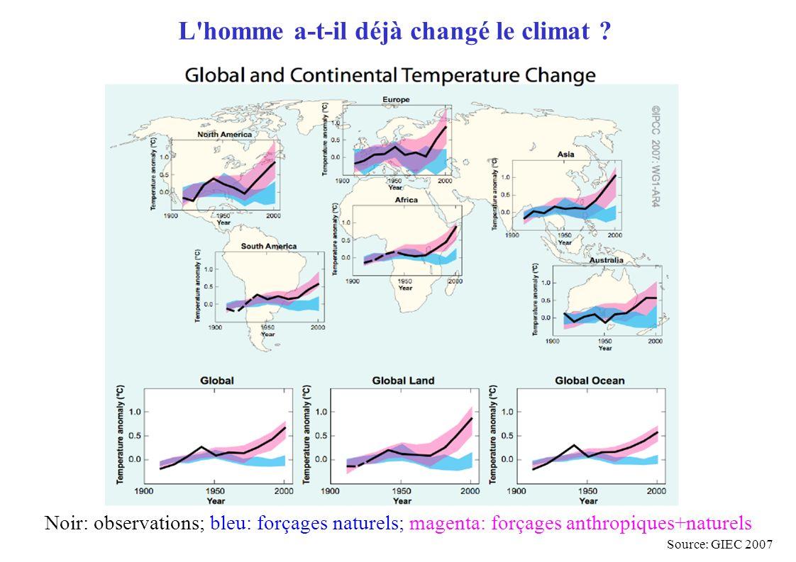 L'homme a-t-il déjà changé le climat ? Source: GIEC 2007 Noir: observations; bleu: forçages naturels; magenta: forçages anthropiques+naturels