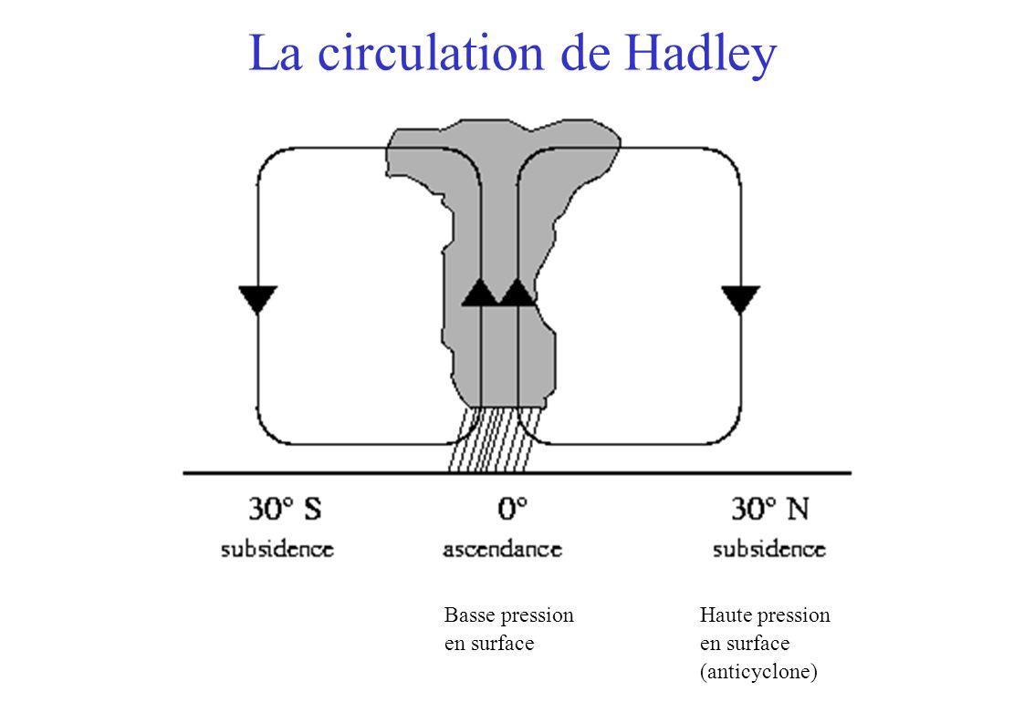La circulation de Hadley Haute pression en surface (anticyclone) Basse pression en surface