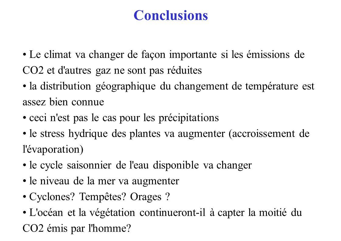 Conclusions Le climat va changer de façon importante si les émissions de CO2 et d'autres gaz ne sont pas réduites la distribution géographique du chan
