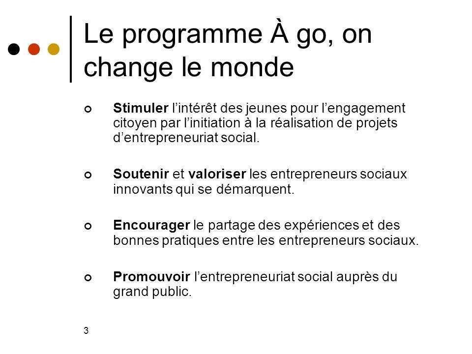 3 Le programme À go, on change le monde Stimuler lintérêt des jeunes pour lengagement citoyen par linitiation à la réalisation de projets dentrepreneuriat social.