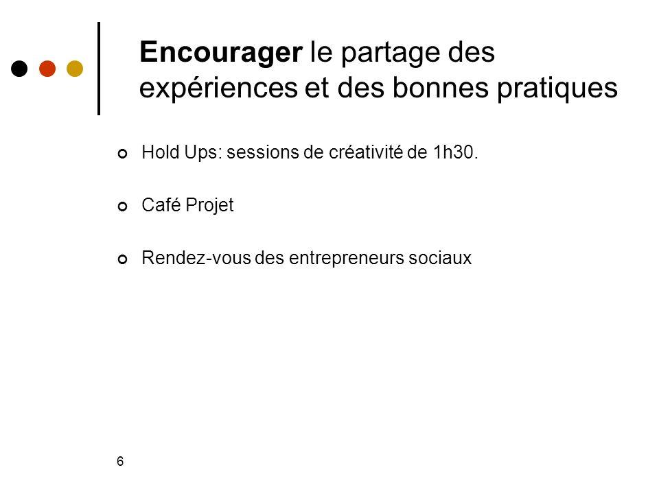6 Encourager le partage des expériences et des bonnes pratiques Hold Ups: sessions de créativité de 1h30.