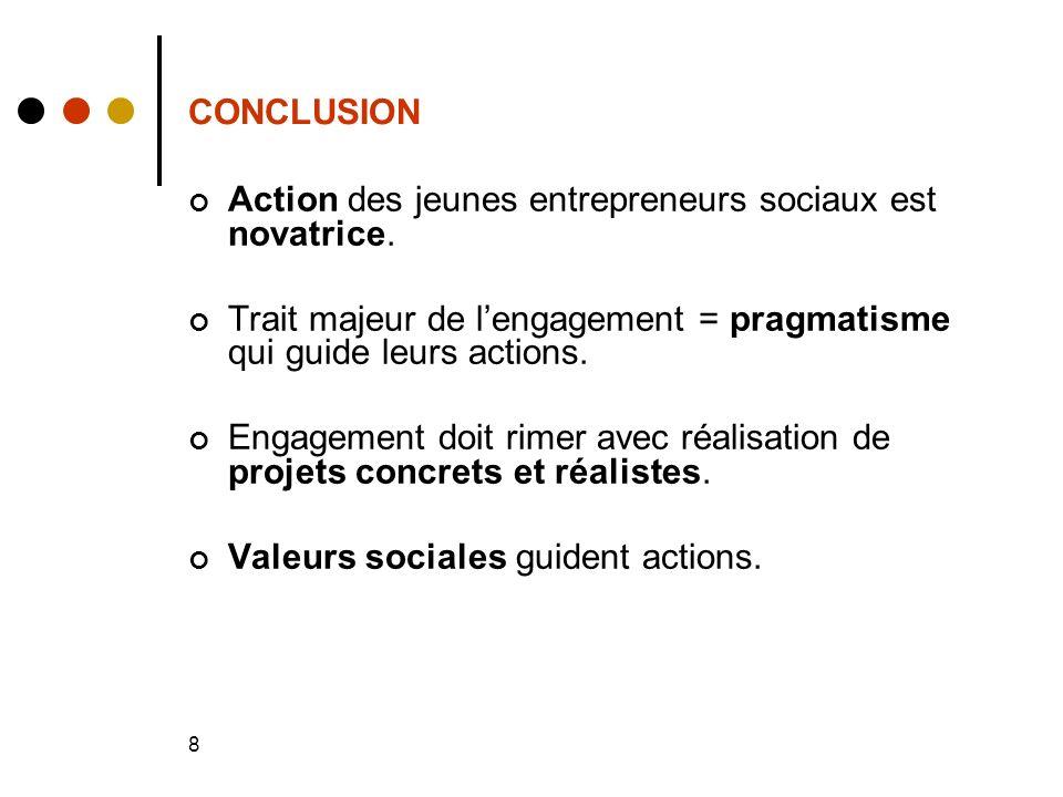 8 CONCLUSION Action des jeunes entrepreneurs sociaux est novatrice.