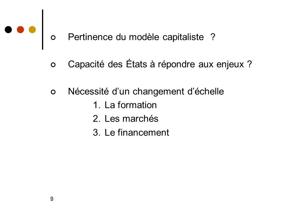 9 Pertinence du modèle capitaliste . Capacité des États à répondre aux enjeux .
