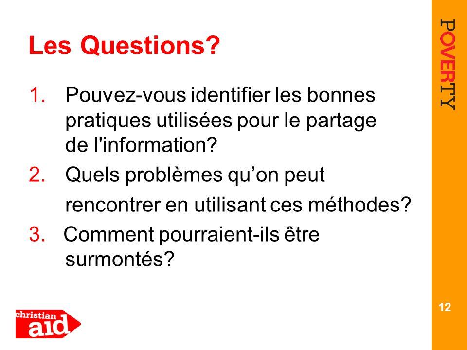 12 Les Questions? 1.Pouvez-vous identifier les bonnes pratiques utilisées pour le partage de l'information? 2.Quels problèmes quon peut rencontrer en