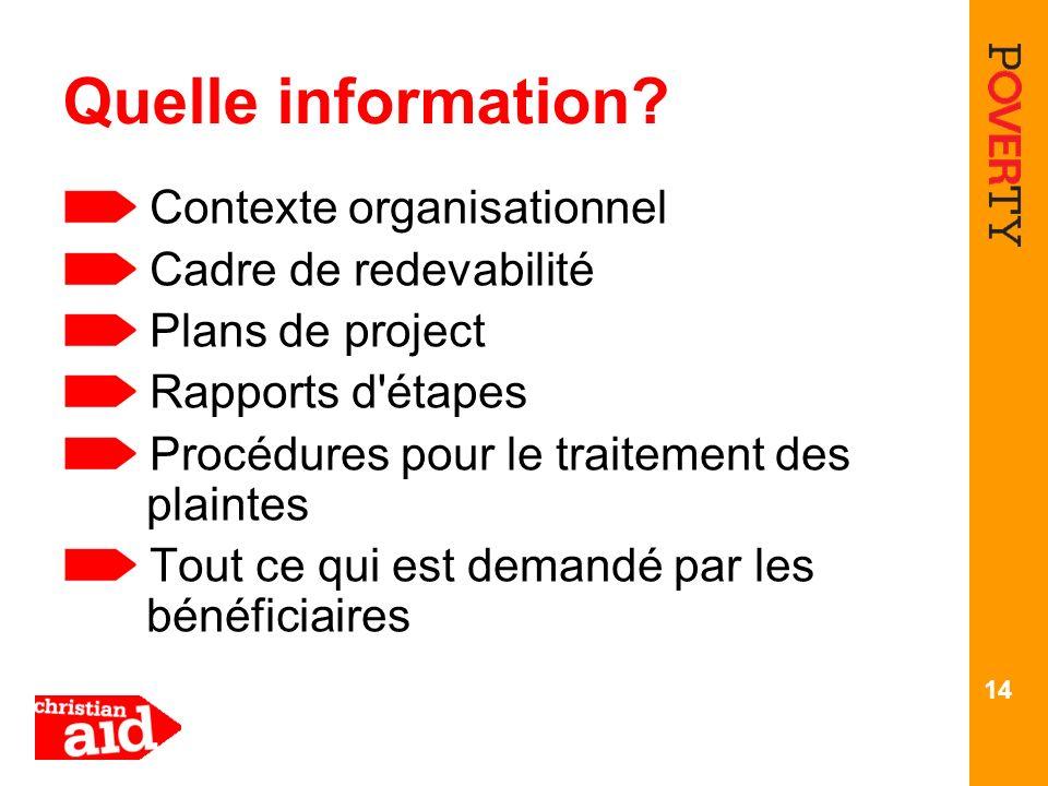 14 Quelle information? Contexte organisationnel Cadre de redevabilité Plans de project Rapports d'étapes Procédures pour le traitement des plaintes To