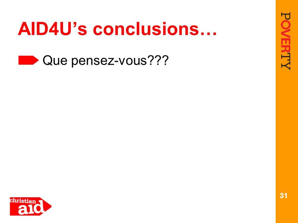 31 AID4Us conclusions… Que pensez-vous???