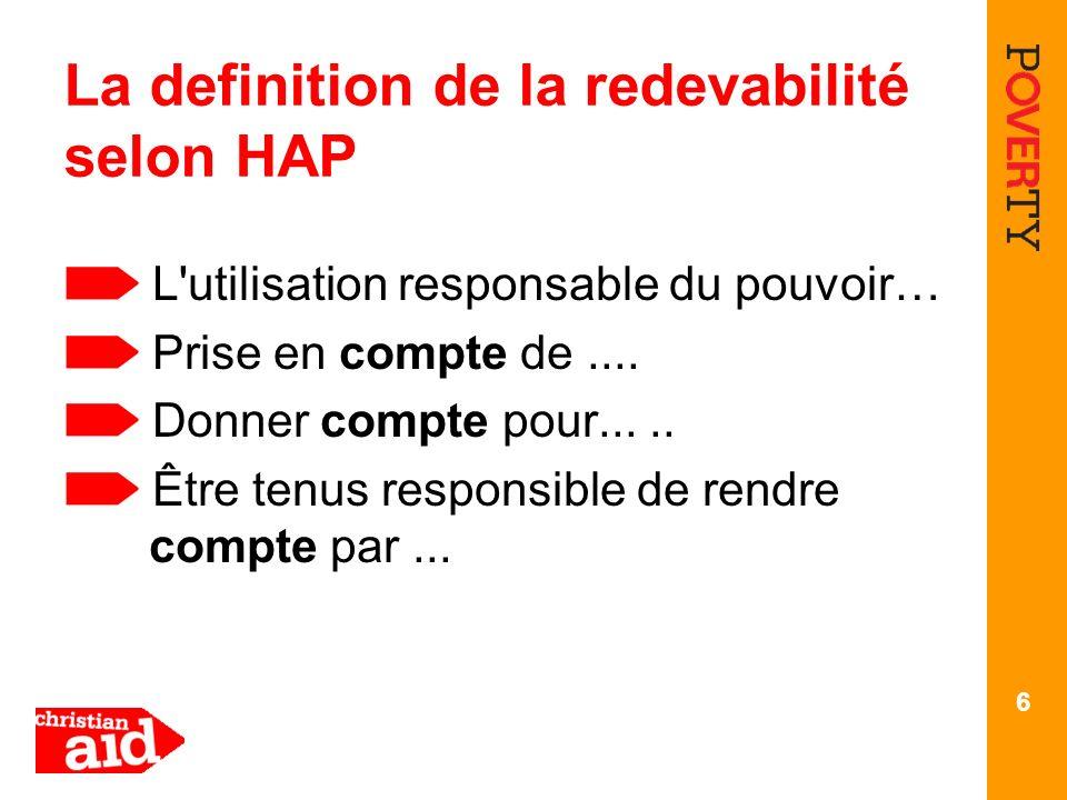 6 La definition de la redevabilité selon HAP L'utilisation responsable du pouvoir… Prise en compte de.... Donner compte pour..... Être tenus responsib