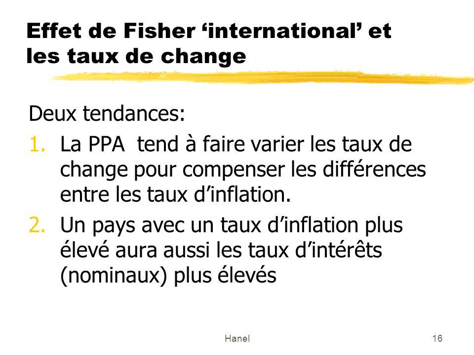 Hanel16 Effet de Fisher international et les taux de change Deux tendances: 1.La PPA tend à faire varier les taux de change pour compenser les différe