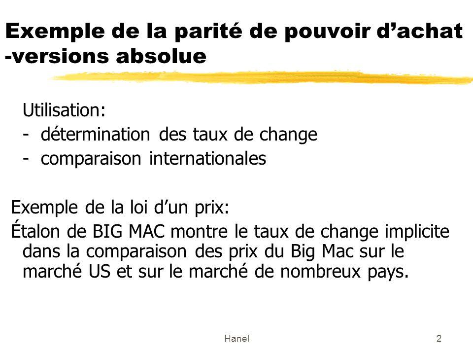 Hanel2 Exemple de la parité de pouvoir dachat -versions absolue Utilisation: - détermination des taux de change - comparaison internationales Exemple