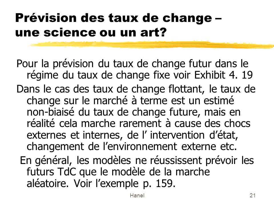 Hanel21 Prévision des taux de change – une science ou un art? Pour la prévision du taux de change futur dans le régime du taux de change fixe voir Exh