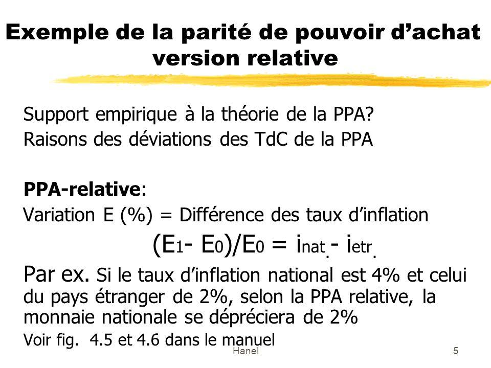 Hanel16 Effet de Fisher international et les taux de change Deux tendances: 1.La PPA tend à faire varier les taux de change pour compenser les différences entre les taux dinflation.
