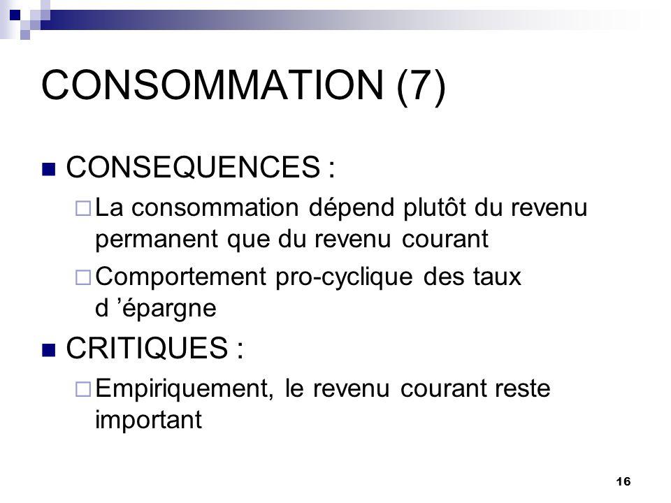 16 CONSOMMATION (7) CONSEQUENCES : La consommation dépend plutôt du revenu permanent que du revenu courant Comportement pro-cyclique des taux d épargn