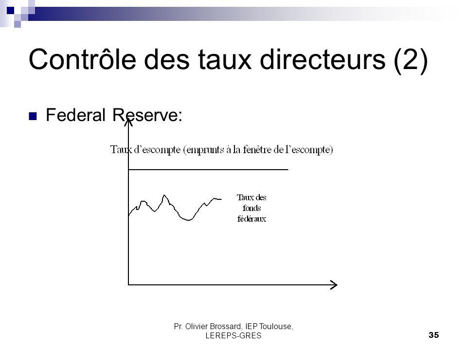Pr. Olivier Brossard, IEP Toulouse, LEREPS-GRES35 Contrôle des taux directeurs (2) Federal Reserve: