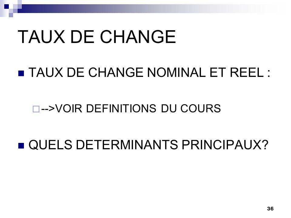 36 TAUX DE CHANGE TAUX DE CHANGE NOMINAL ET REEL : -->VOIR DEFINITIONS DU COURS QUELS DETERMINANTS PRINCIPAUX?