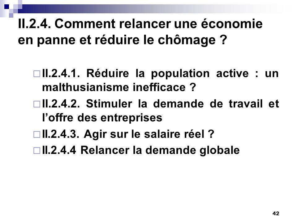 42 II.2.4. Comment relancer une économie en panne et réduire le chômage ? II.2.4.1. Réduire la population active : un malthusianisme inefficace ? II.2