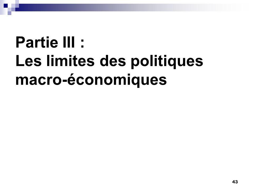 43 Partie III : Les limites des politiques macro-économiques