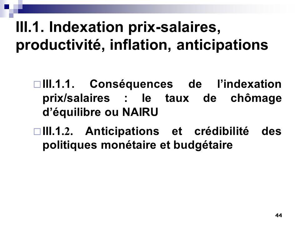 44 III.1. Indexation prix-salaires, productivité, inflation, anticipations III.1.1. Conséquences de lindexation prix/salaires : le taux de chômage déq