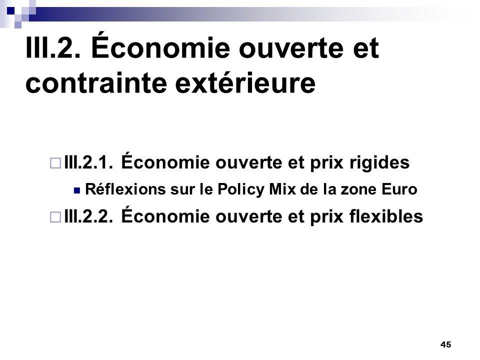 45 III.2. Économie ouverte et contrainte extérieure III.2.1. Économie ouverte et prix rigides Réflexions sur le Policy Mix de la zone Euro III.2.2. Éc