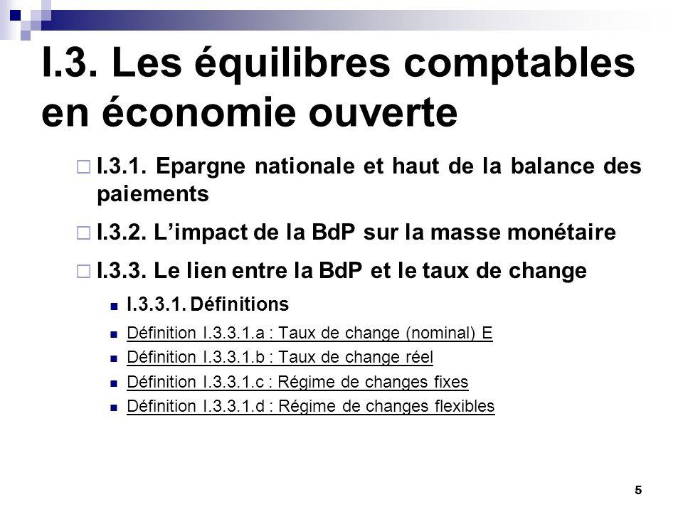 5 I.3. Les équilibres comptables en économie ouverte I.3.1. Epargne nationale et haut de la balance des paiements I.3.2. Limpact de la BdP sur la mass