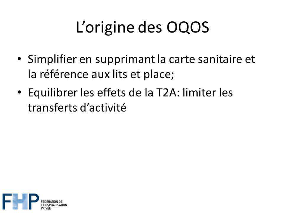 Lorigine des OQOS Simplifier en supprimant la carte sanitaire et la référence aux lits et place; Equilibrer les effets de la T2A: limiter les transferts dactivité