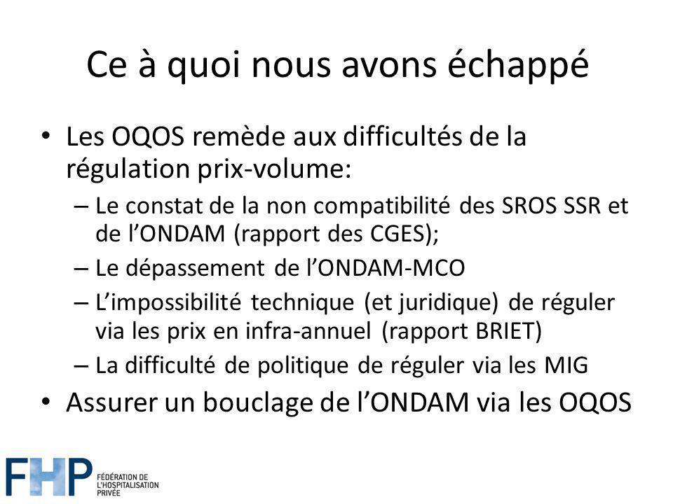 Ce à quoi nous avons échappé Les OQOS remède aux difficultés de la régulation prix-volume: – Le constat de la non compatibilité des SROS SSR et de lONDAM (rapport des CGES); – Le dépassement de lONDAM-MCO – Limpossibilité technique (et juridique) de réguler via les prix en infra-annuel (rapport BRIET) – La difficulté de politique de réguler via les MIG Assurer un bouclage de lONDAM via les OQOS