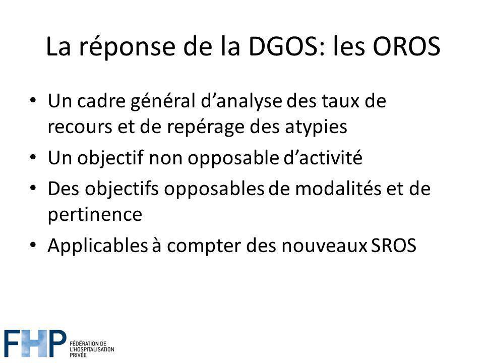 La réponse de la DGOS: les OROS Un cadre général danalyse des taux de recours et de repérage des atypies Un objectif non opposable dactivité Des objectifs opposables de modalités et de pertinence Applicables à compter des nouveaux SROS