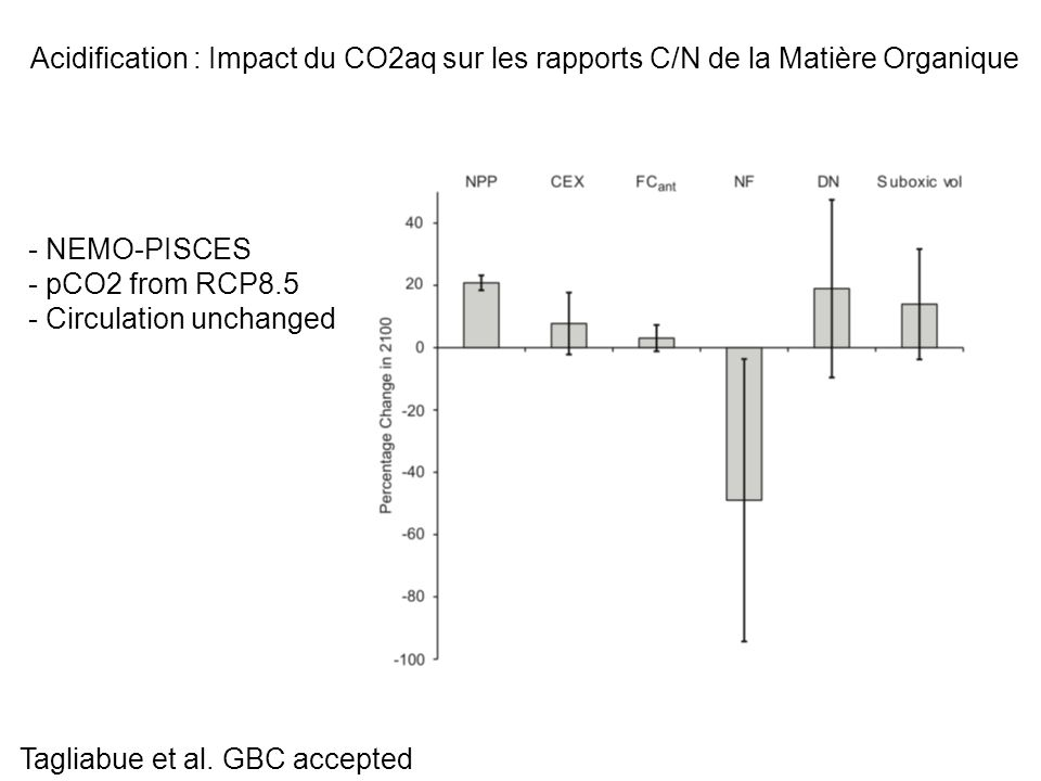 Acidification : Impact du CO2aq sur les rapports C/N de la Matière Organique - NEMO-PISCES - pCO2 from RCP8.5 - Circulation unchanged Tagliabue et al.