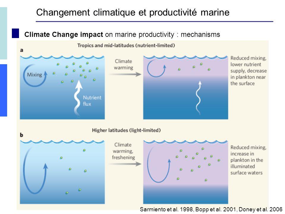 Climate Change impact on marine productivity : mechanisms Sarmiento et al.