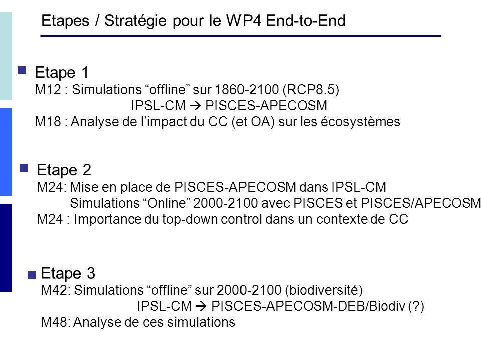Etapes / Stratégie pour le WP4 End-to-End Etape 1 M12 : Simulations offline sur 1860-2100 (RCP8.5) IPSL-CM PISCES-APECOSM M18 : Analyse de limpact du CC (et OA) sur les écosystèmes Etape 2 M24: Mise en place de PISCES-APECOSM dans IPSL-CM Simulations Online 2000-2100 avec PISCES et PISCES/APECOSM M24 : Importance du top-down control dans un contexte de CC Etape 3 M42: Simulations offline sur 2000-2100 (biodiversité) IPSL-CM PISCES-APECOSM-DEB/Biodiv ( ) M48: Analyse de ces simulations