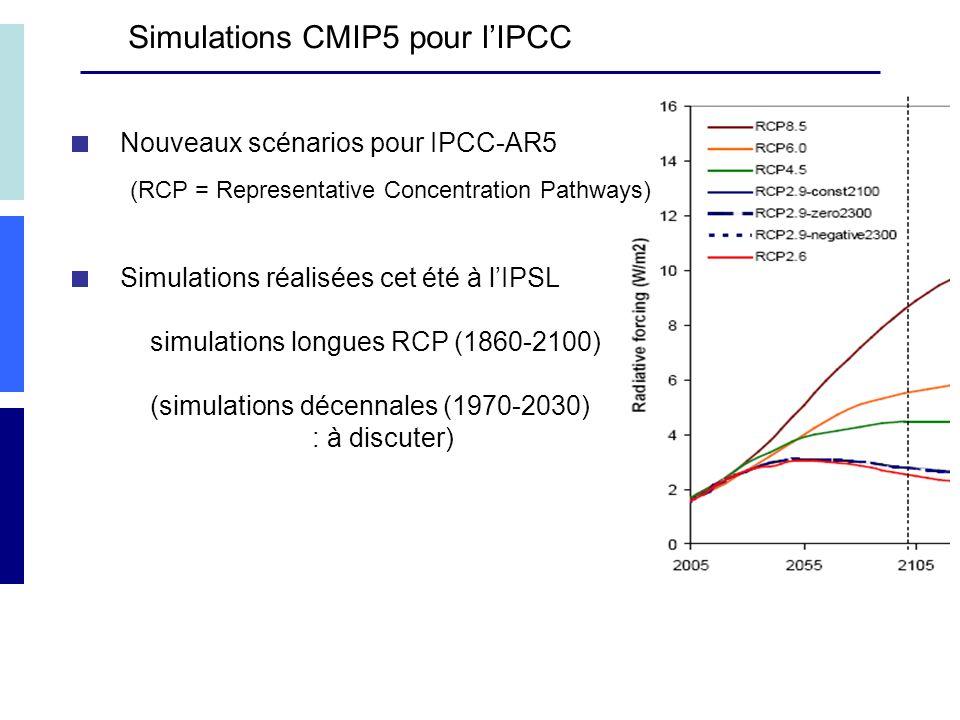 Nouveaux scénarios pour IPCC-AR5 (RCP = Representative Concentration Pathways) Simulations réalisées cet été à lIPSL simulations longues RCP (1860-2100) (simulations décennales (1970-2030) : à discuter) Simulations CMIP5 pour lIPCC