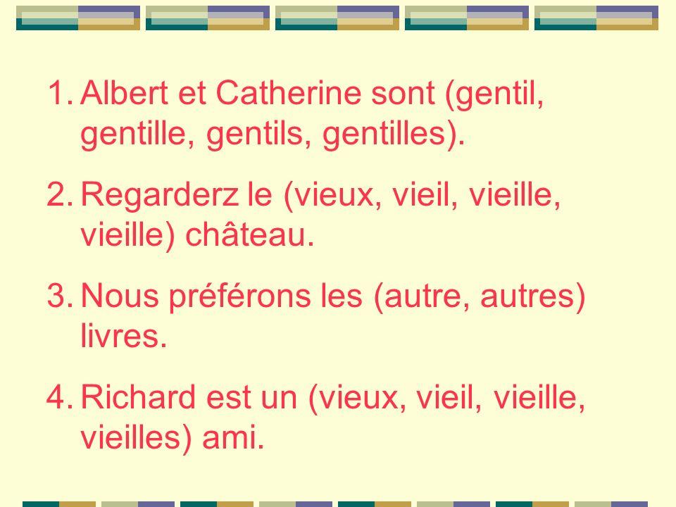 1.Albert et Catherine sont (gentil, gentille, gentils, gentilles).
