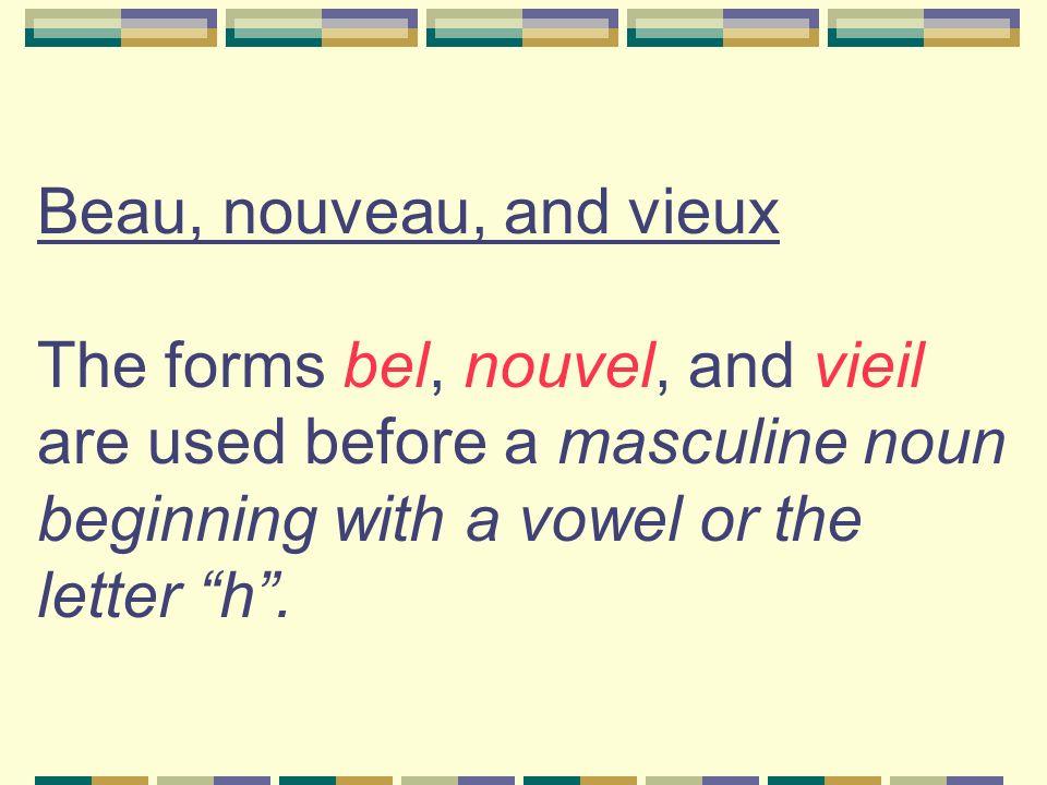 Examples of bel, vieil, and nouvel un bel homme un vieil ami un nouvel acteur